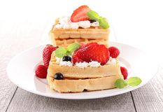 Waffle and strawberries Royalty Free Stock Image