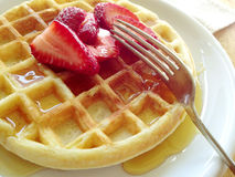 Waffle with strawberries Stock Images