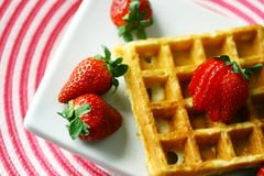 Waffle and strawberry Stock Photos