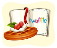 Waffle with strawberry and book Royalty Free Stock Images
