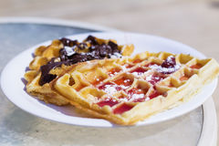 Waffle with strawberry and chocolate  coating Royalty Free Stock Photos