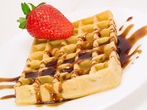 Waffle with Strawberry and Chocolate Royalty Free Stock Image