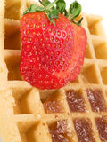 Waffle with strawberry Royalty Free Stock Images