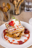 Waffle strawberry sauce Royalty Free Stock Photo