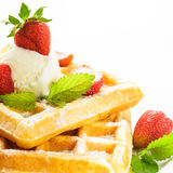 Waffle with strawberry Stock Photo