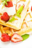 Waffle with strawberry Stock Photography