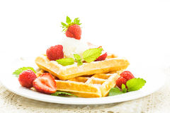 Waffle with strawberry Stock Photos