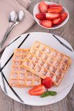 Waffle and strawberry Royalty Free Stock Image