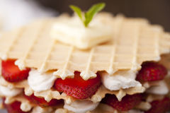 Waffle with strawberry Royalty Free Stock Photos