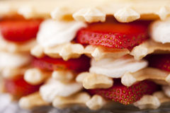 Waffle with strawberry Royalty Free Stock Image