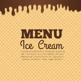 Waffle texture background for cafe menu design. Chocolate ice cream flowing over waffle texture background with text layout in the center. Cafe menu, ice cream Stock Images