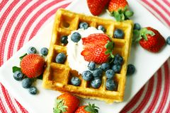 Waffle topped with berries Royalty Free Stock Photo