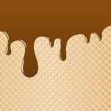 Waffle topped with chocolate as background. Vector illustration of a waffle topped with chocolate as background Royalty Free Stock Photography