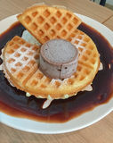 Waffle topped with chocolate Stock Photography