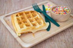 Waffle with topped fruit jelly candy and sugar sprinkle dots Stock Photography