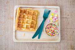 Waffle with topped fruit jelly candy and sugar sprinkle dots Royalty Free Stock Photography