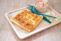 Waffle with topped fruit jelly candy and sugar sprinkle dots Stock Images