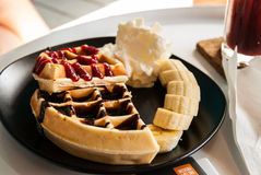 Waffle with topping Royalty Free Stock Photo