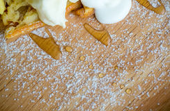 Waffle and vanilla ice cream two scoops and maple syrup. Popular sweets and dessert. sweet, fat and high calories. image for background, wallpaper, copy space stock image