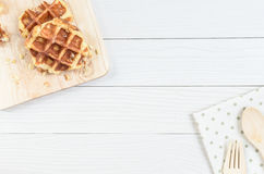 Waffle. The Waffle has cooked and ready to serve and enjoy eating in relaxing time on holiday Stock Photography