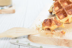 Waffle. The Waffle has cooked and ready to serve and enjoy eating in relaxing time on holiday Royalty Free Stock Photo