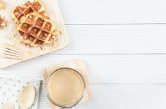 Waffle. The Waffle has cooked and ready to serve and enjoy eating in relaxing time on holiday Royalty Free Stock Images