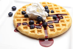 Waffle with Whipped Cream and Syrup Stock Images