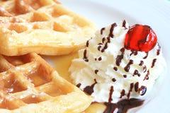 Waffle with white cream Stock Photo