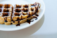 Waffle on white dish Stock Photos