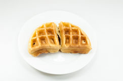 A Waffle on white dish on white background Stock Images