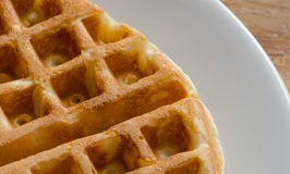 Waffle on White Plate Stock Photography