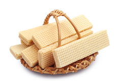 Waffle in a wicker basket Stock Images