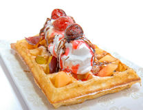 Waffle With Vanilla Ice Cream Stock Image