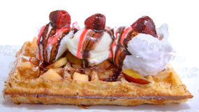 Waffle With Vanilla Ice Cream Stock Photography
