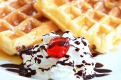Free Waffle With White Cream Stock Photos - 16212183