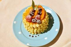 Waffles вполне поленики, персика, смородины и порошка на малой, голубой плите Стоковая Фотография