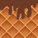 Waffles в шоколаде Реалистическая текстура продуктов иллюстрация штока