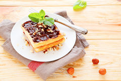 Waffles гайки с шоколадом Стоковые Фото