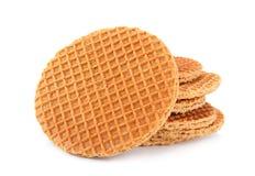Waffles Голландии круглые на белизне Стоковое Изображение RF
