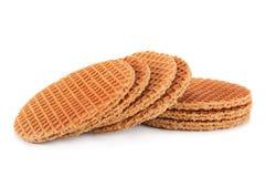 Waffles Голландии круглые на белизне Стоковые Фотографии RF
