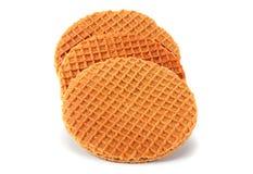 Waffles Голландии круглые на белизне Стоковые Изображения RF