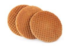 Waffles Голландии круглые на белизне Стоковое Изображение