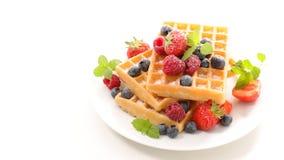 Waffles и плодоовощ ягоды стоковая фотография