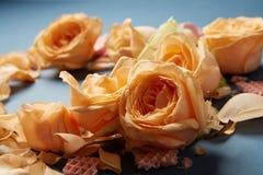 Waffles и розы как украшение предпосылки Стоковые Фотографии RF