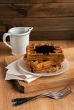 Waffles и шоколад Стоковое Фото
