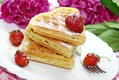 Waffles и ягоды Стоковое Фото