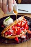 Waffles клубники Стоковое Изображение RF