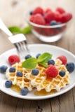 waffles меда ягод свежие Стоковые Фотографии RF