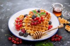 waffles меда ягод свежие Стоковые Изображения RF