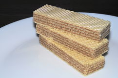 Waffles на белой плите Стоковое Изображение